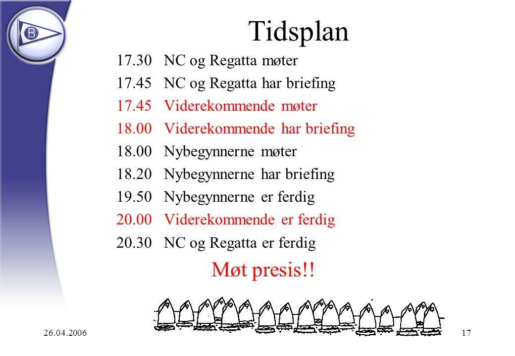 Tidsplan Møt presis!! 17.30 NC og Regatta møter