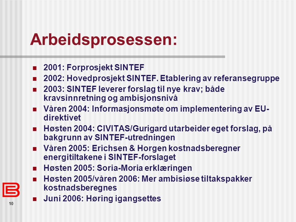 Arbeidsprosessen: 2001: Forprosjekt SINTEF