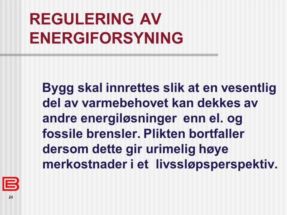 REGULERING AV ENERGIFORSYNING