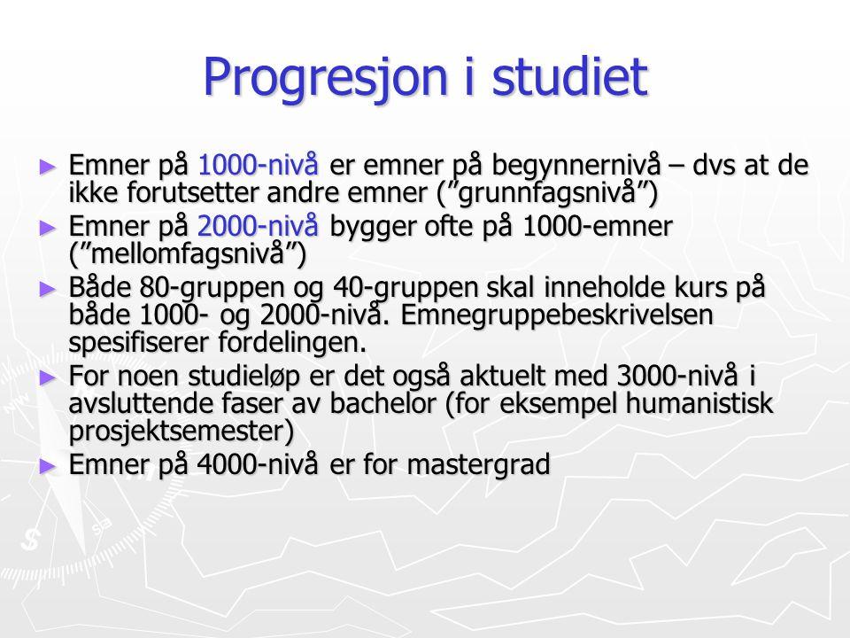 Progresjon i studiet Emner på 1000-nivå er emner på begynnernivå – dvs at de ikke forutsetter andre emner ( grunnfagsnivå )