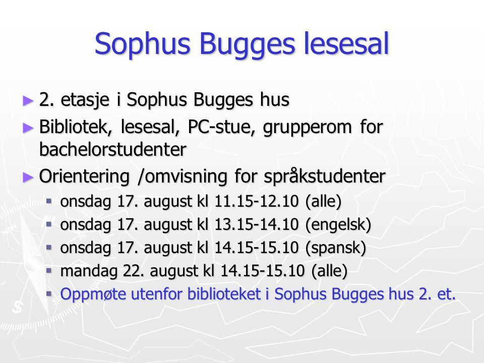 Sophus Bugges lesesal 2. etasje i Sophus Bugges hus