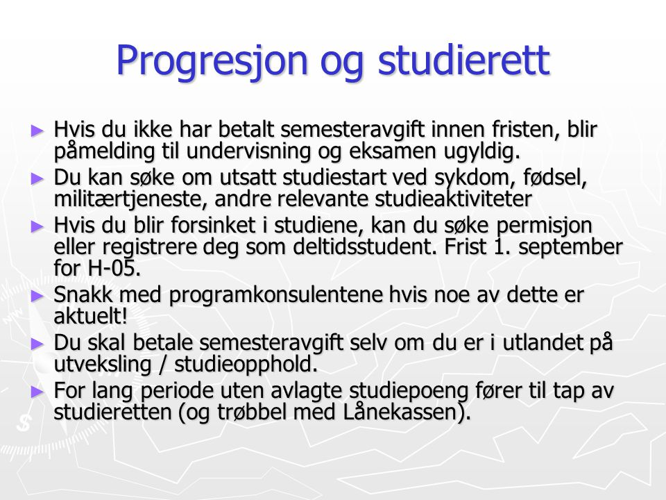Progresjon og studierett