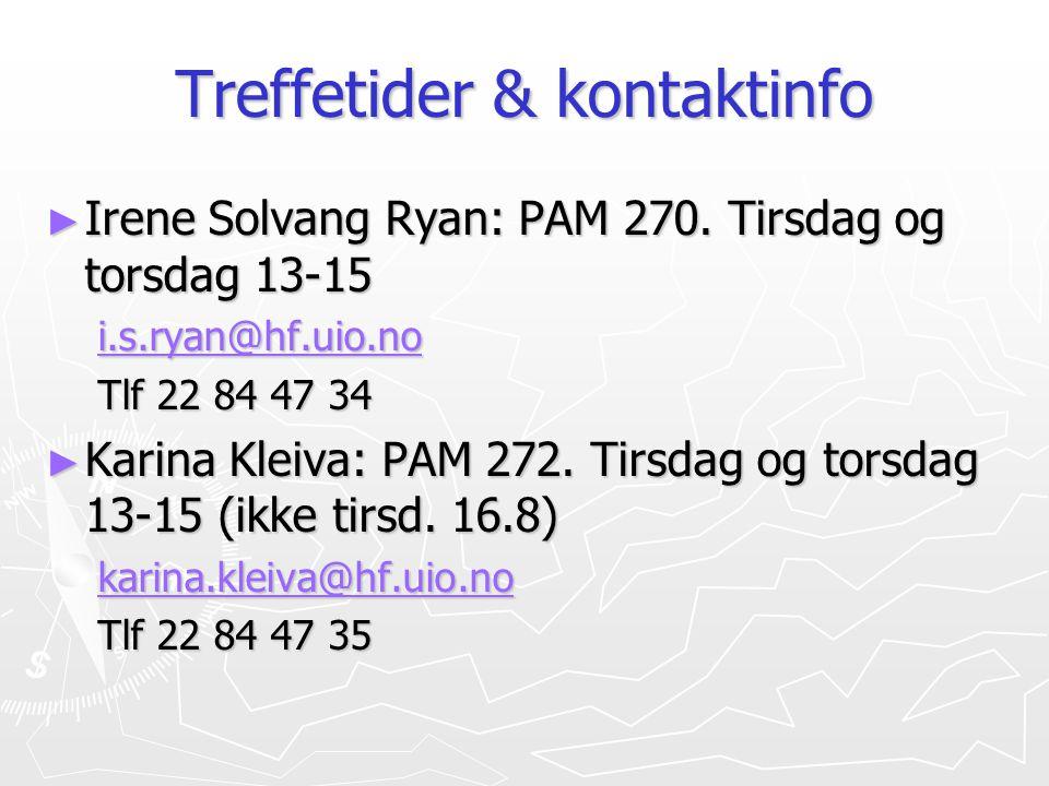 Treffetider & kontaktinfo