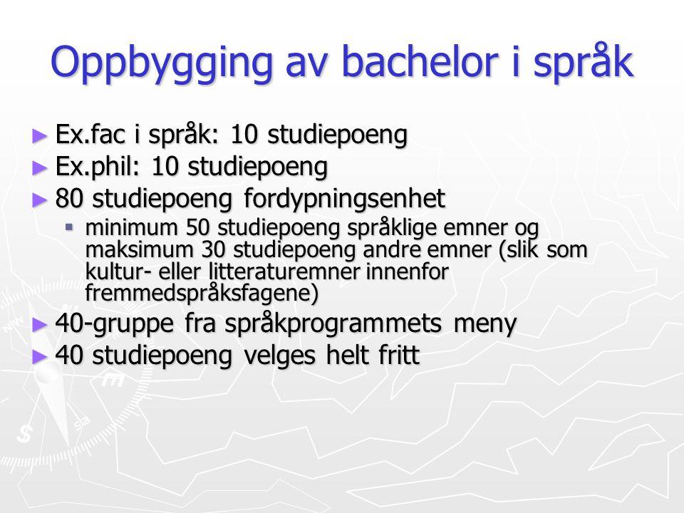 Oppbygging av bachelor i språk