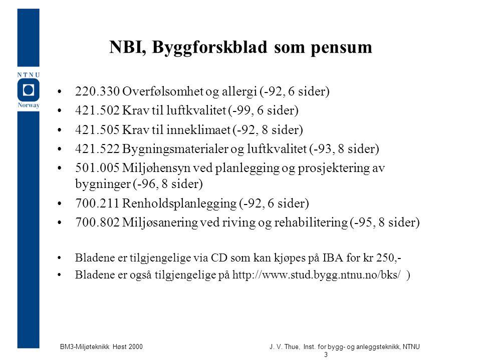 NBI, Byggforskblad som pensum