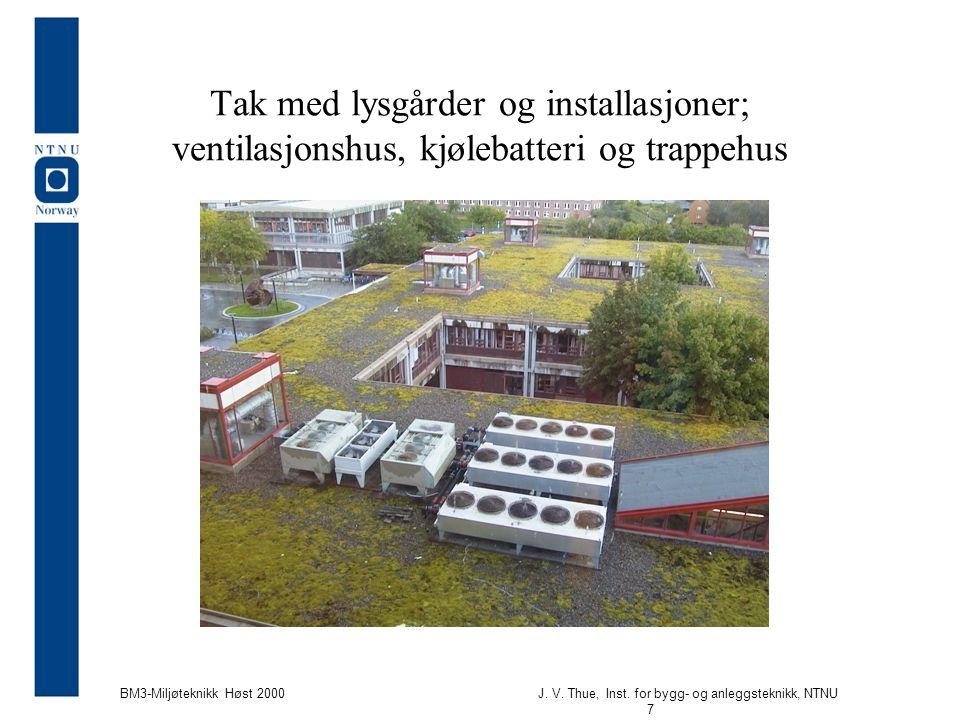 Tak med lysgårder og installasjoner; ventilasjonshus, kjølebatteri og trappehus