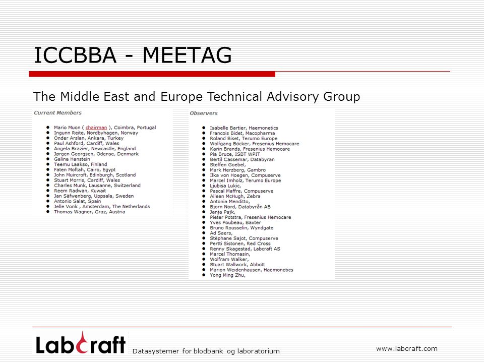 ICCBBA - MEETAG The Middle East and Europe Technical Advisory Group
