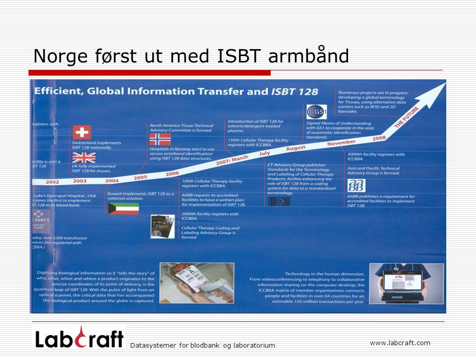 Norge først ut med ISBT armbånd