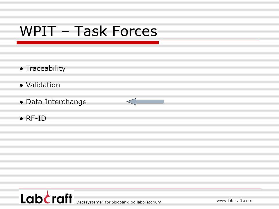 WPIT – Task Forces ● Traceability ● Validation ● Data Interchange
