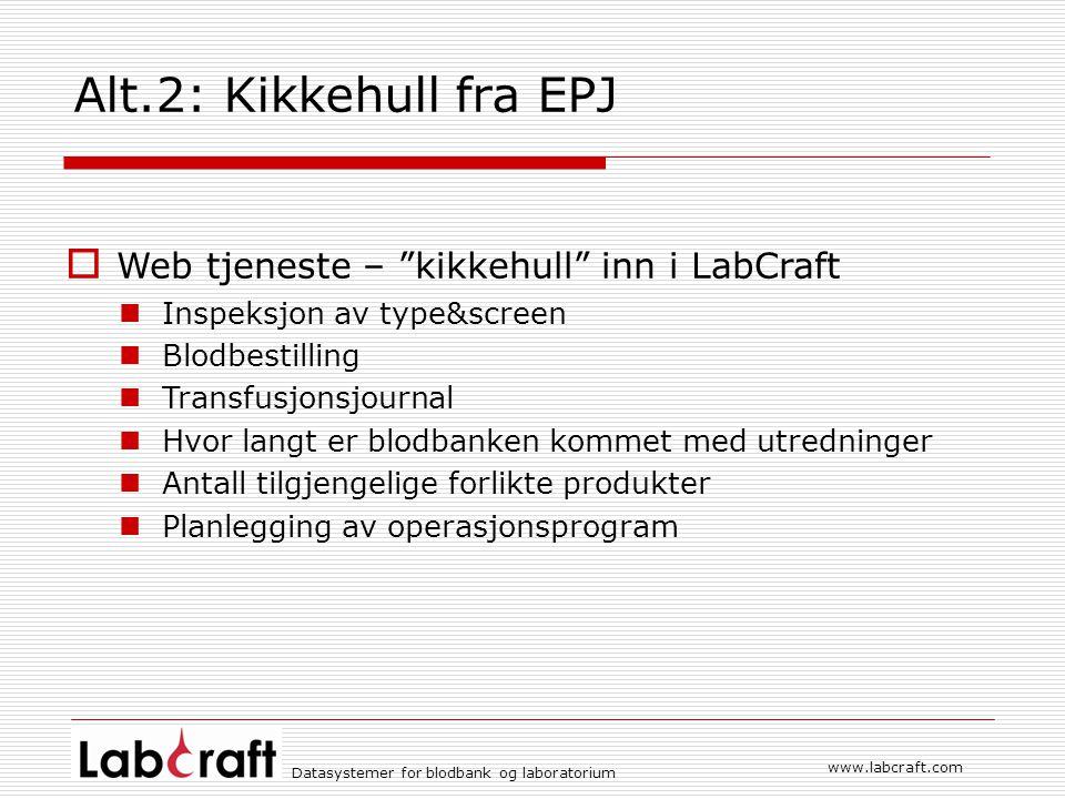 Alt.2: Kikkehull fra EPJ Web tjeneste – kikkehull inn i LabCraft