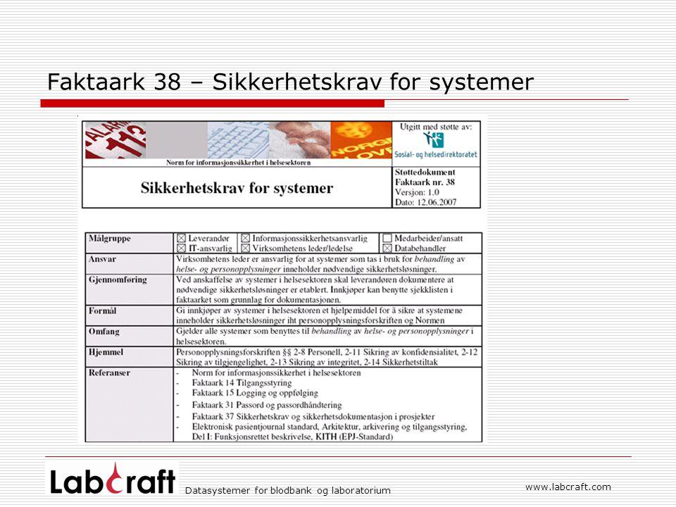 Faktaark 38 – Sikkerhetskrav for systemer