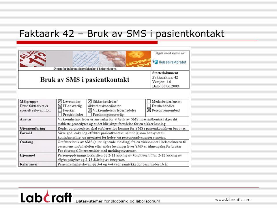 Faktaark 42 – Bruk av SMS i pasientkontakt