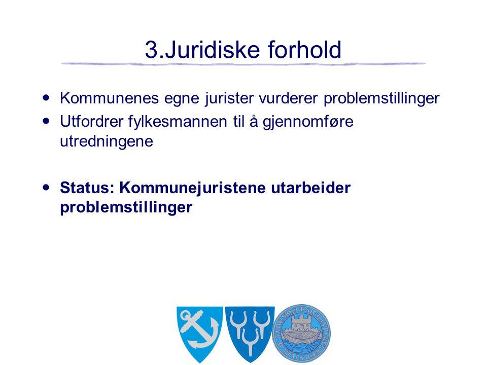 3.Juridiske forhold Kommunenes egne jurister vurderer problemstillinger. Utfordrer fylkesmannen til å gjennomføre utredningene.