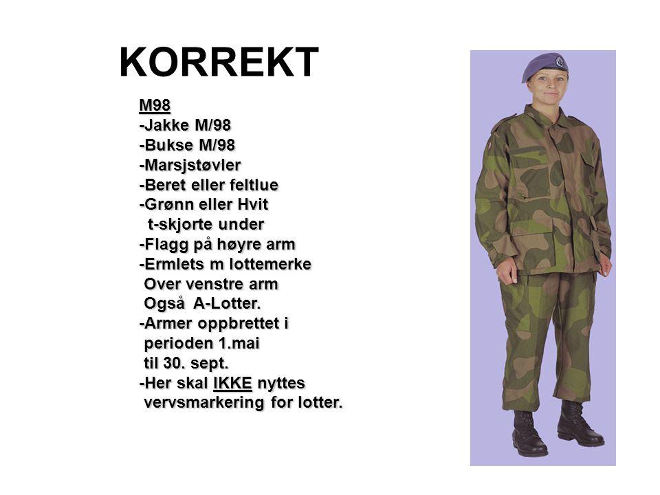 KORREKT M98 -Jakke M/98 -Bukse M/98 -Marsjstøvler -Beret eller feltlue