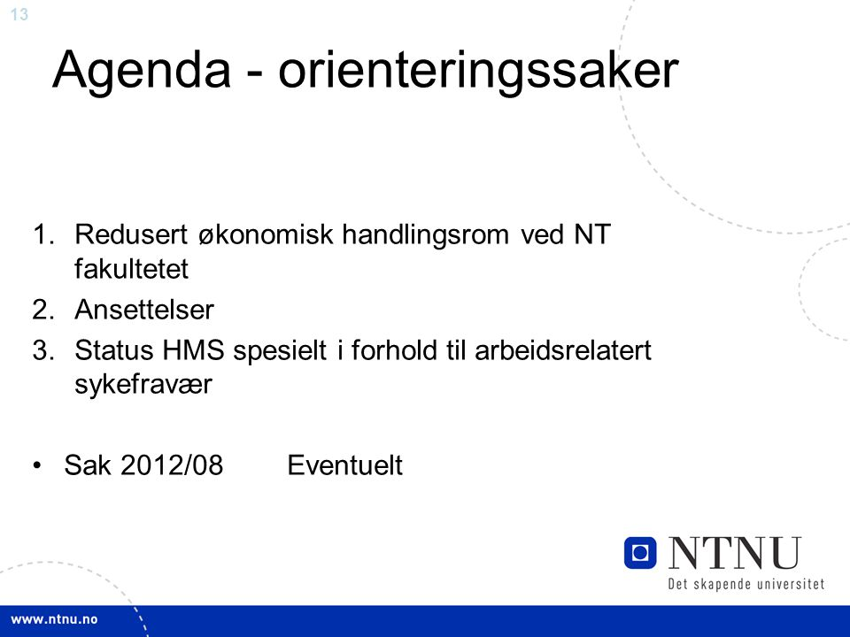 Agenda - orienteringssaker