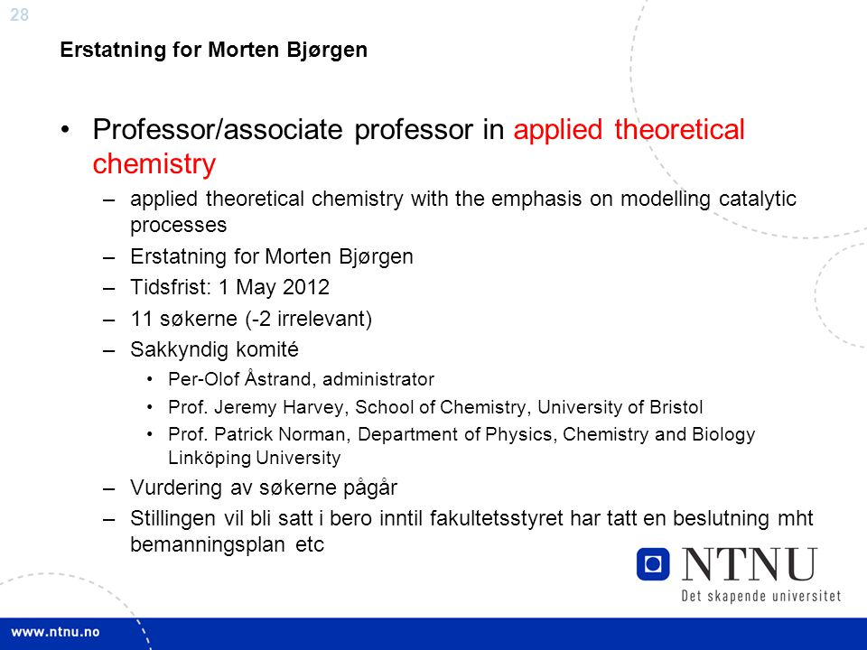 Professor/associate professor in applied theoretical chemistry