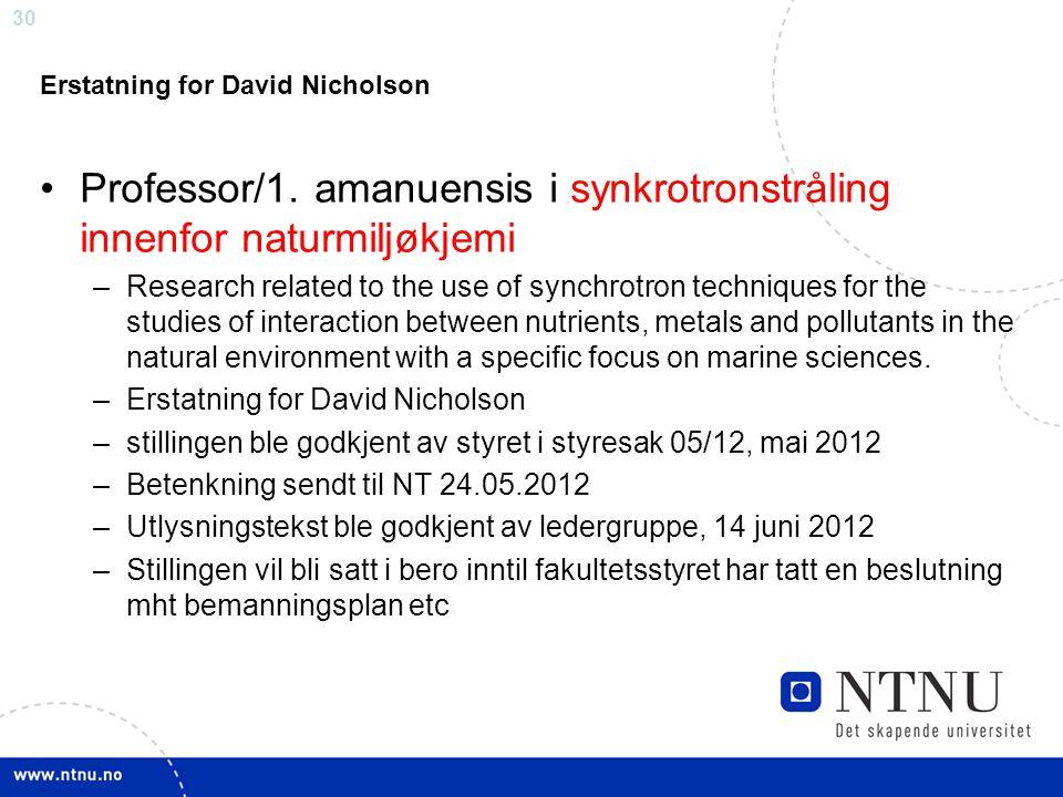 Professor/1. amanuensis i synkrotronstråling innenfor naturmiljøkjemi