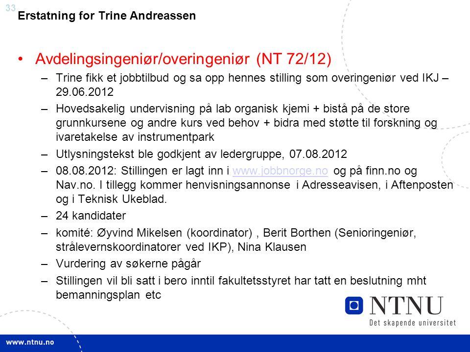 Avdelingsingeniør/overingeniør (NT 72/12)
