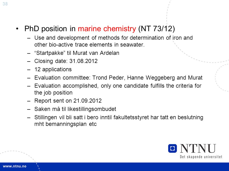 PhD position in marine chemistry (NT 73/12)