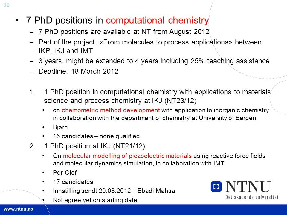 7 PhD positions in computational chemistry