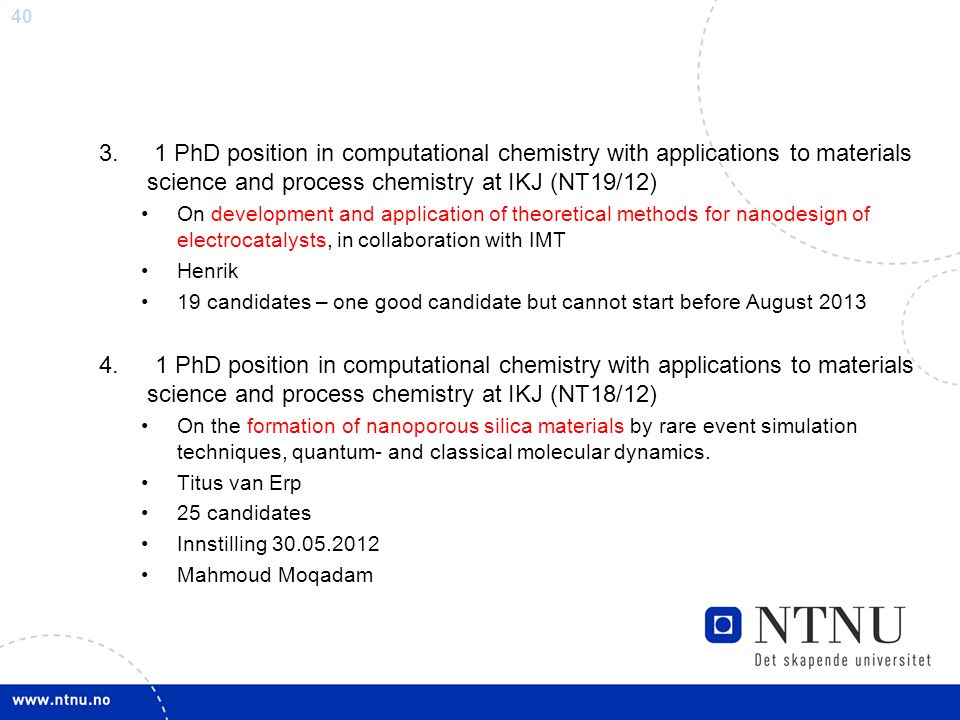 3. 1 PhD position in computational chemistry with applications to materials science and process chemistry at IKJ (NT19/12)