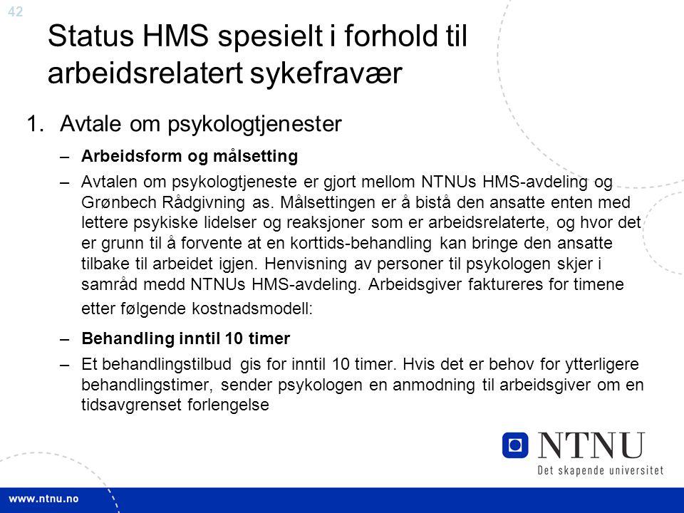 Status HMS spesielt i forhold til arbeidsrelatert sykefravær