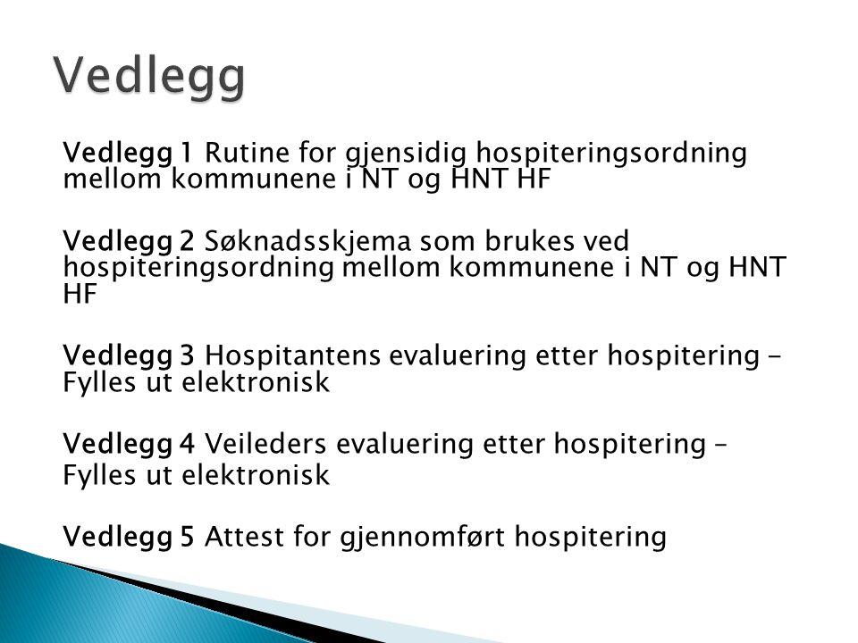 Vedlegg Vedlegg 1 Rutine for gjensidig hospiteringsordning mellom kommunene i NT og HNT HF.