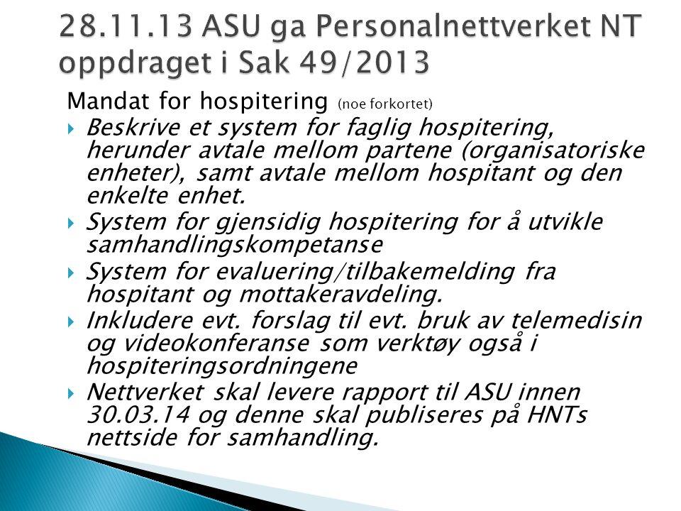 28.11.13 ASU ga Personalnettverket NT oppdraget i Sak 49/2013