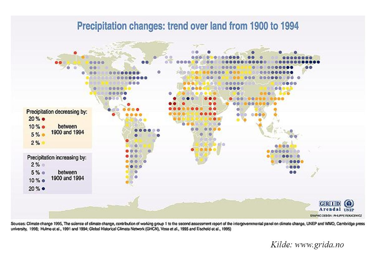 16. Precipitation has increased over land at high latitudes of the Northern Hemisphere, especially during the cold season. Decrease in precipitation occurred in steps after the 1960s over the subtropics and the tropics from Africa to Indonesia. These changes are consistent with available data analyses of changes in stream flow, lake levels and soil surface. Precipitation averaged over the Earth s land surface increased from the start of the century up to about 1960, but has decreased since about 1980. There is a lack of data on precipitation over the oceans. (Source:WG I SAR, TS p.28)