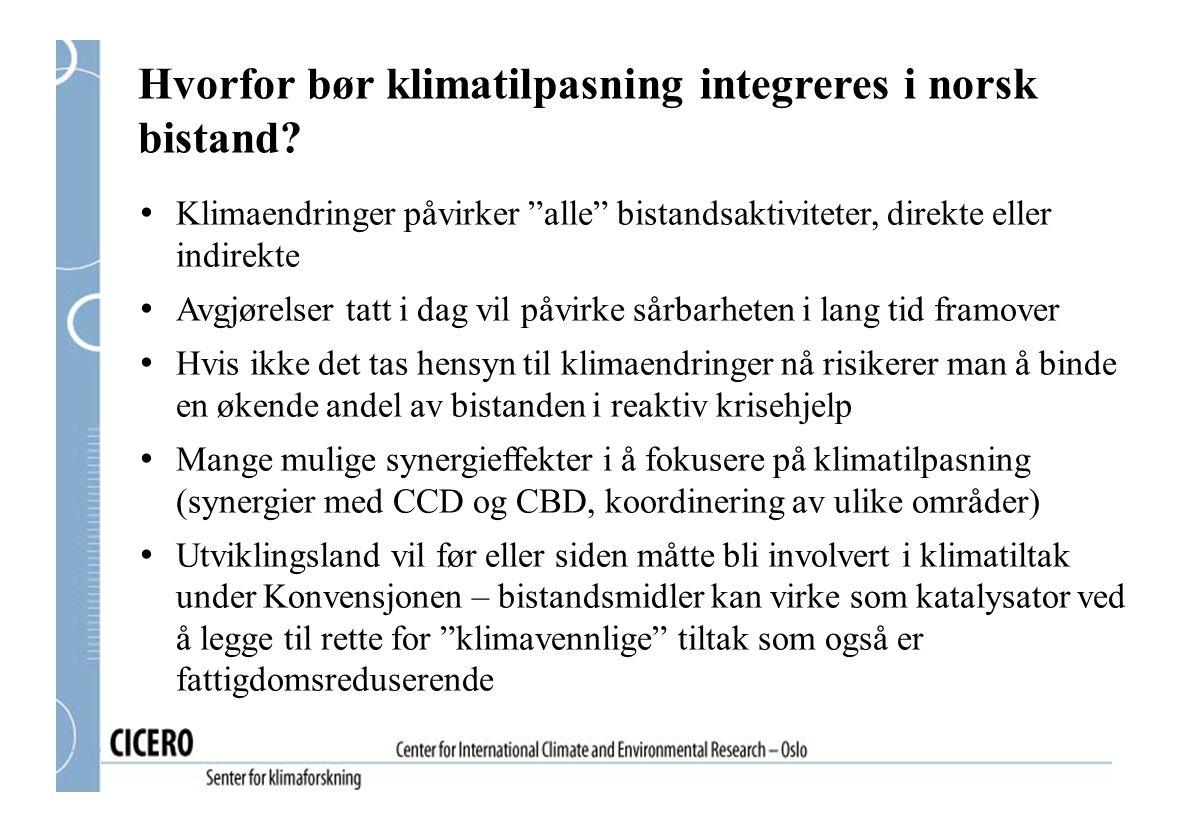 Hvorfor bør klimatilpasning integreres i norsk bistand