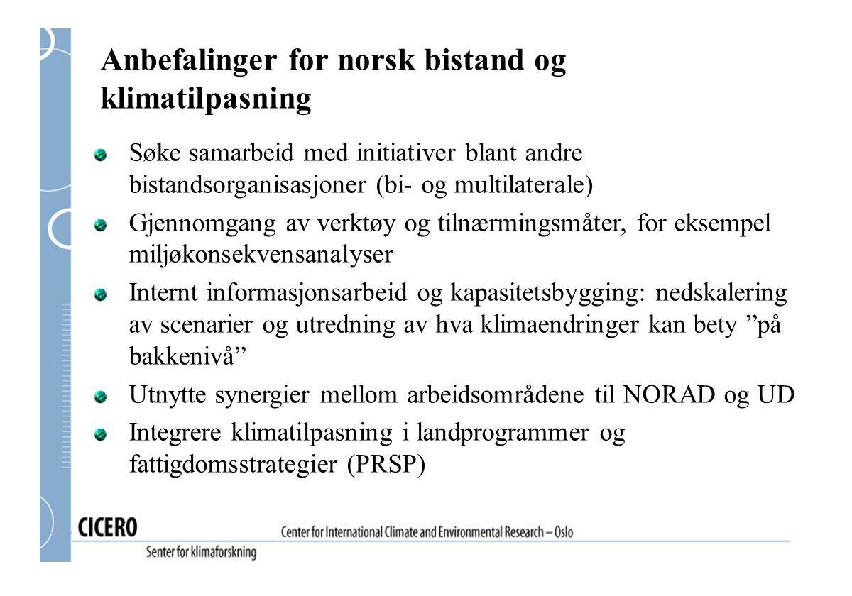 Anbefalinger for norsk bistand og klimatilpasning