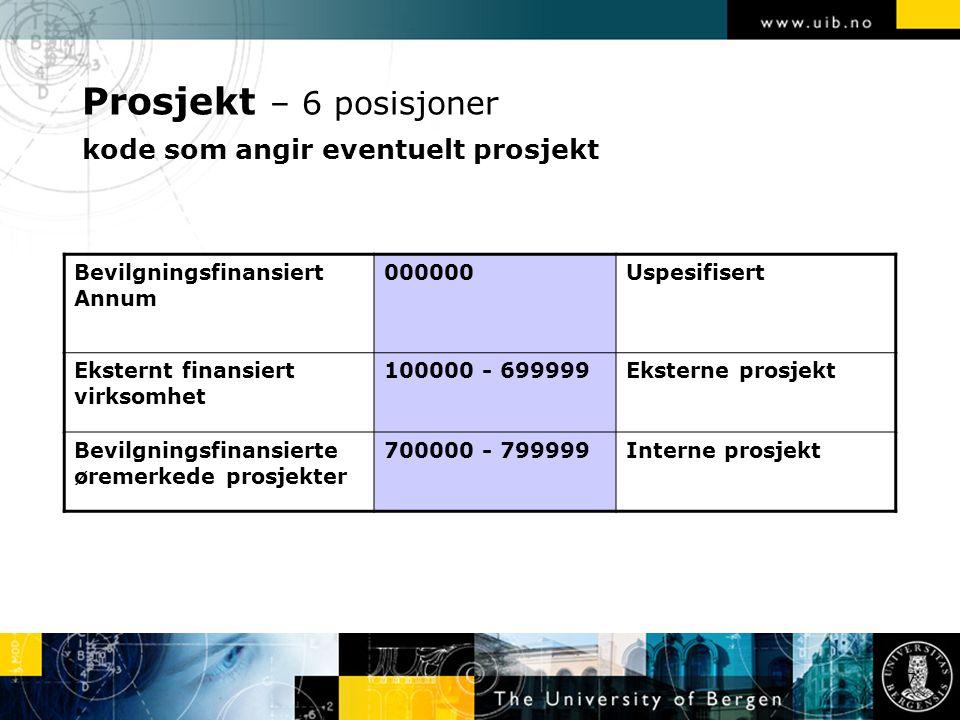 Prosjekt – 6 posisjoner kode som angir eventuelt prosjekt