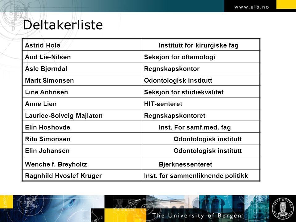 Deltakerliste Astrid Holø Institutt for kirurgiske fag Aud Lie-Nilsen