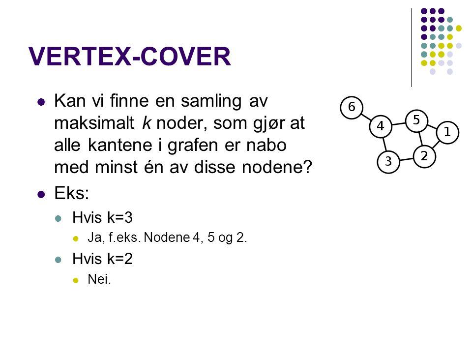 VERTEX-COVER Kan vi finne en samling av maksimalt k noder, som gjør at alle kantene i grafen er nabo med minst én av disse nodene