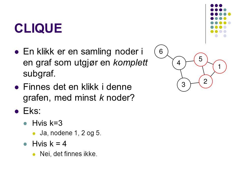 CLIQUE En klikk er en samling noder i en graf som utgjør en komplett subgraf. Finnes det en klikk i denne grafen, med minst k noder