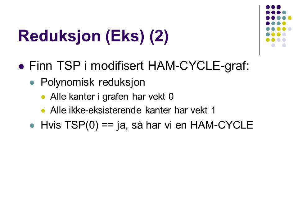 Reduksjon (Eks) (2) Finn TSP i modifisert HAM-CYCLE-graf:
