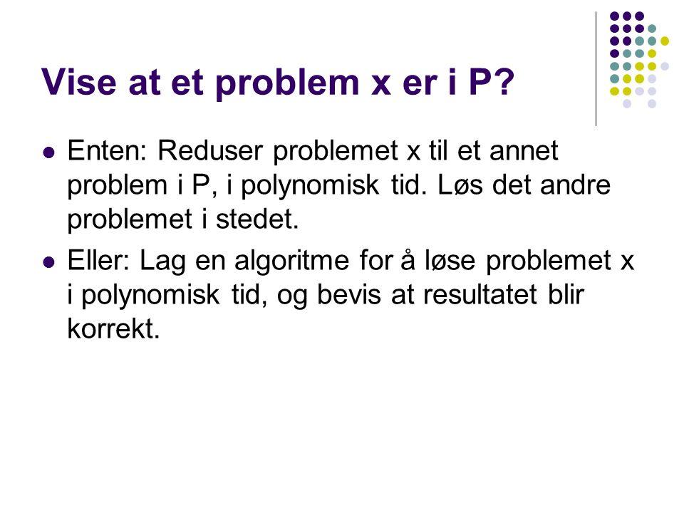 Vise at et problem x er i P