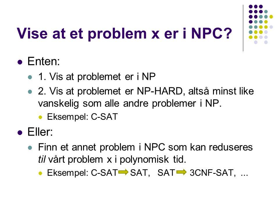 Vise at et problem x er i NPC