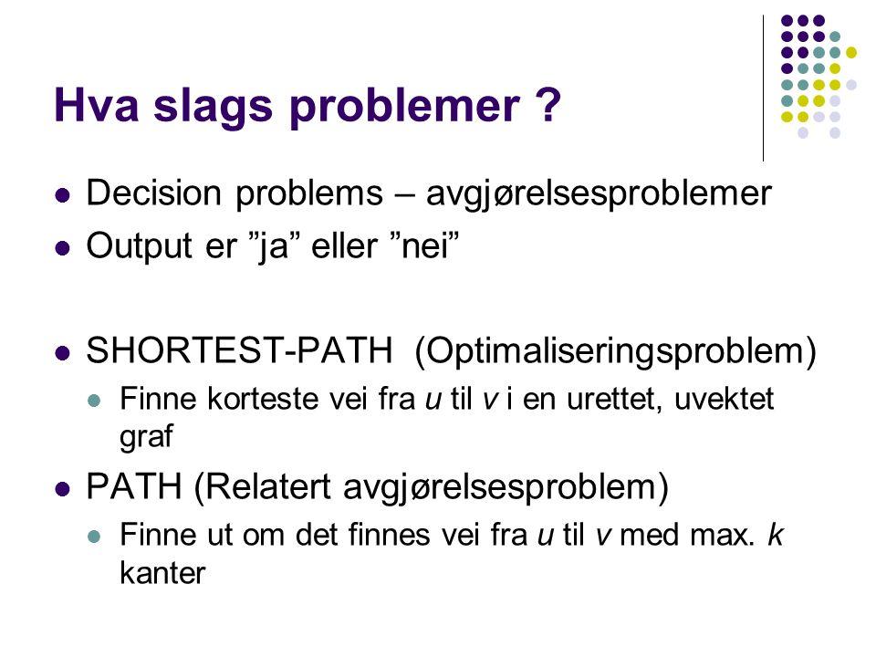 Hva slags problemer Decision problems – avgjørelsesproblemer