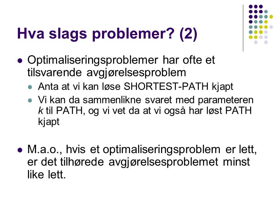 Hva slags problemer (2) Optimaliseringsproblemer har ofte et tilsvarende avgjørelsesproblem. Anta at vi kan løse SHORTEST-PATH kjapt.