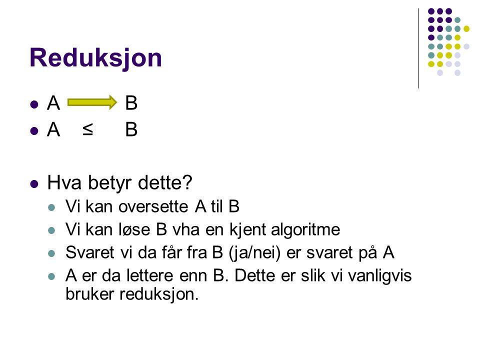 Reduksjon A B A ≤ B Hva betyr dette Vi kan oversette A til B