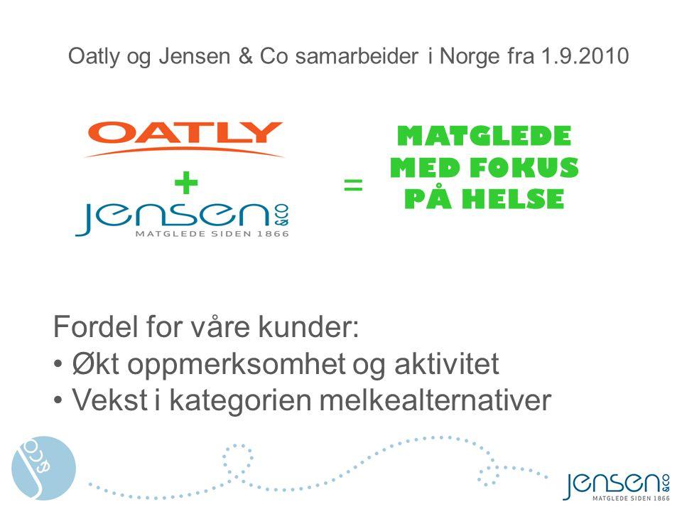 Oatly og Jensen & Co samarbeider i Norge fra 1.9.2010