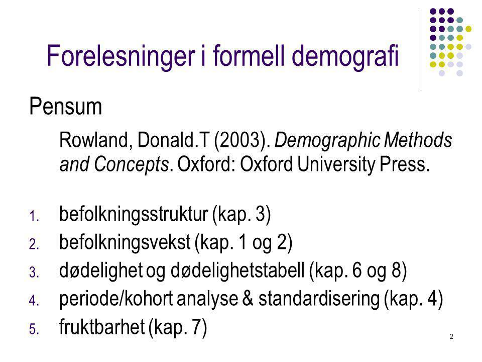 Forelesninger i formell demografi