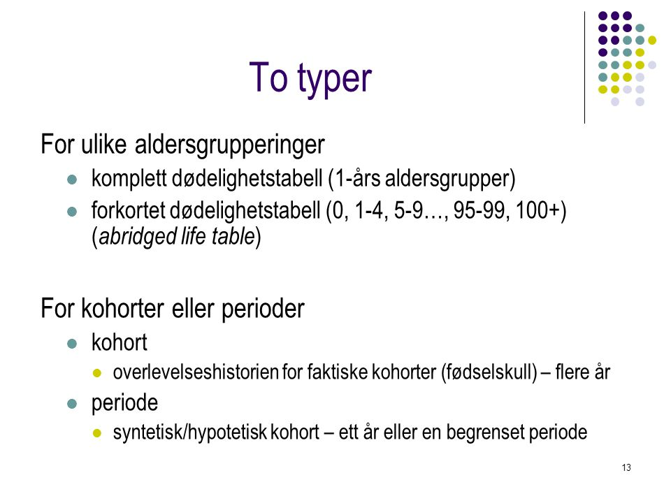 To typer For ulike aldersgrupperinger For kohorter eller perioder