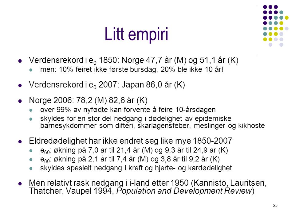 Litt empiri Verdensrekord i e0 1850: Norge 47,7 år (M) og 51,1 år (K)