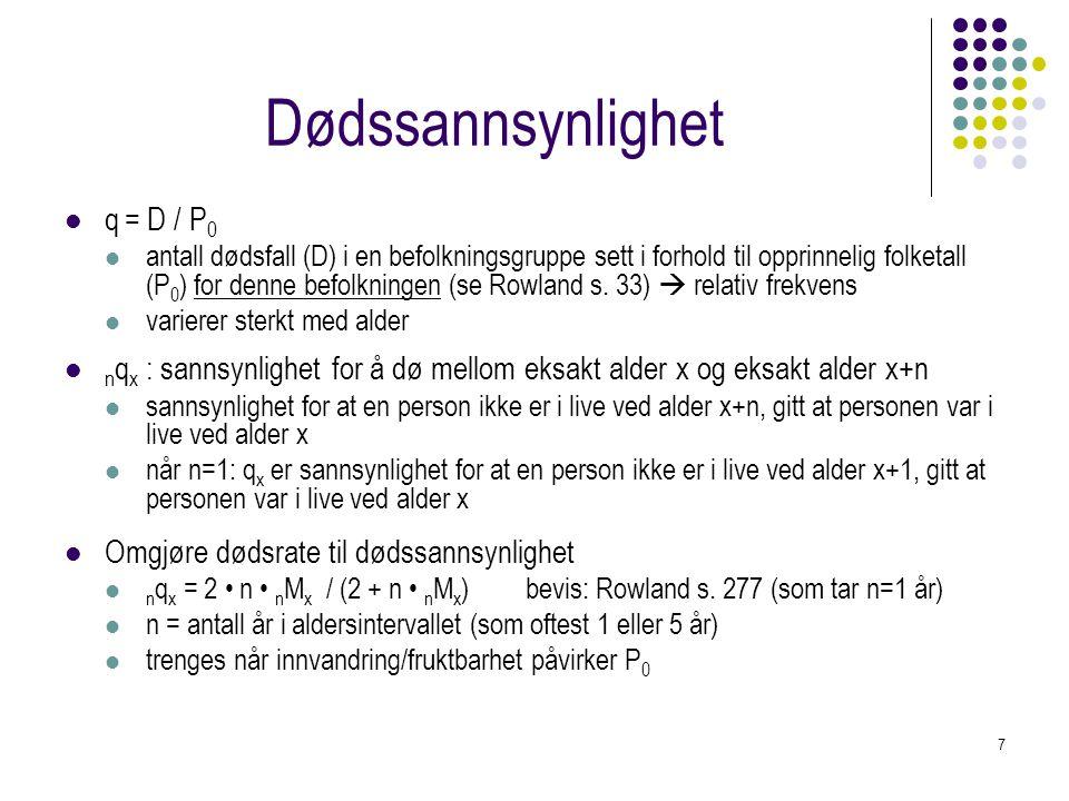 Dødssannsynlighet q = D / P0