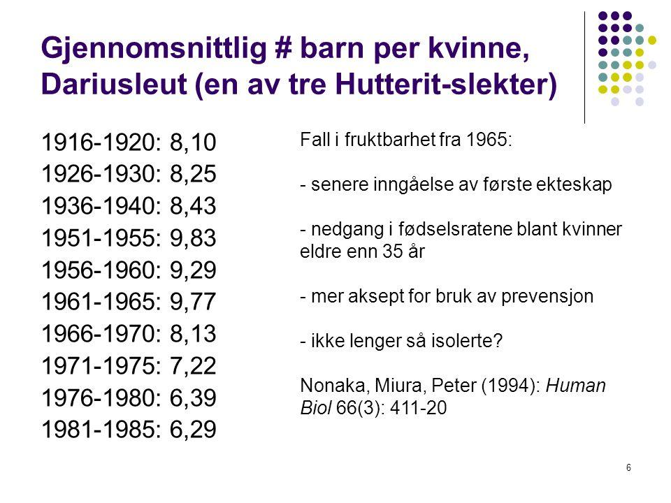 Gjennomsnittlig # barn per kvinne, Dariusleut (en av tre Hutterit-slekter)