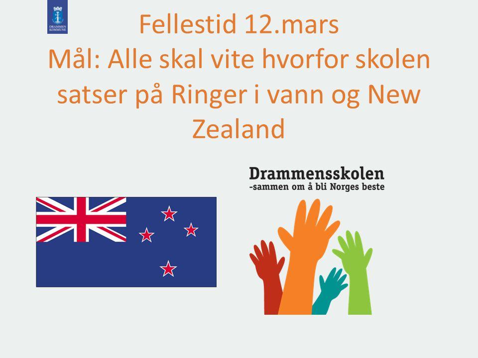 Fellestid 12.mars Mål: Alle skal vite hvorfor skolen satser på Ringer i vann og New Zealand