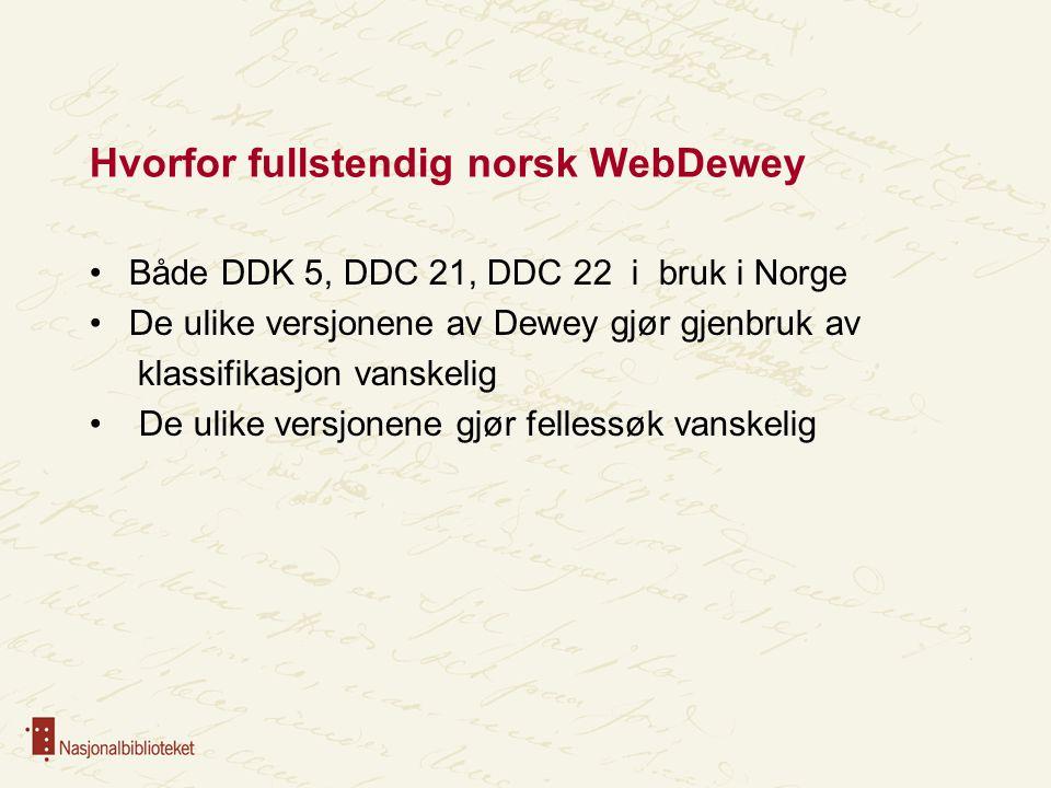 Hvorfor fullstendig norsk WebDewey