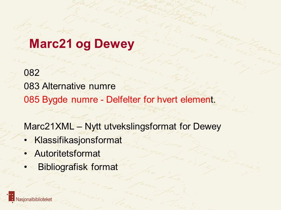 Marc21 og Dewey 082 083 Alternative numre